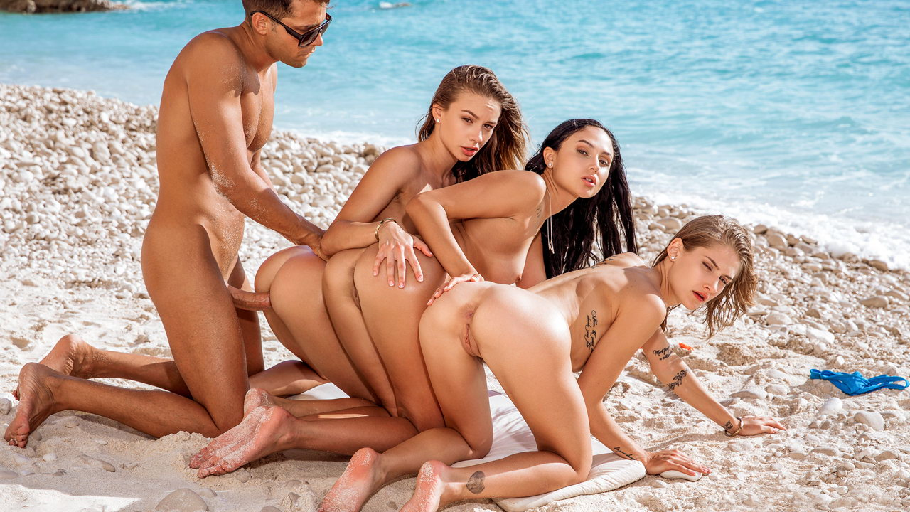 Having sex with three hot naked girls on the beach is a dream come true