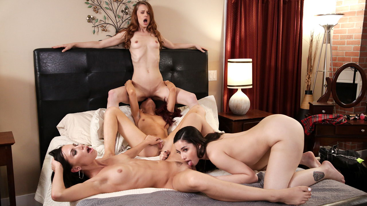 Gorgeous nubile newcomer seduced and fucked by her classmates in a lesbian foursome
