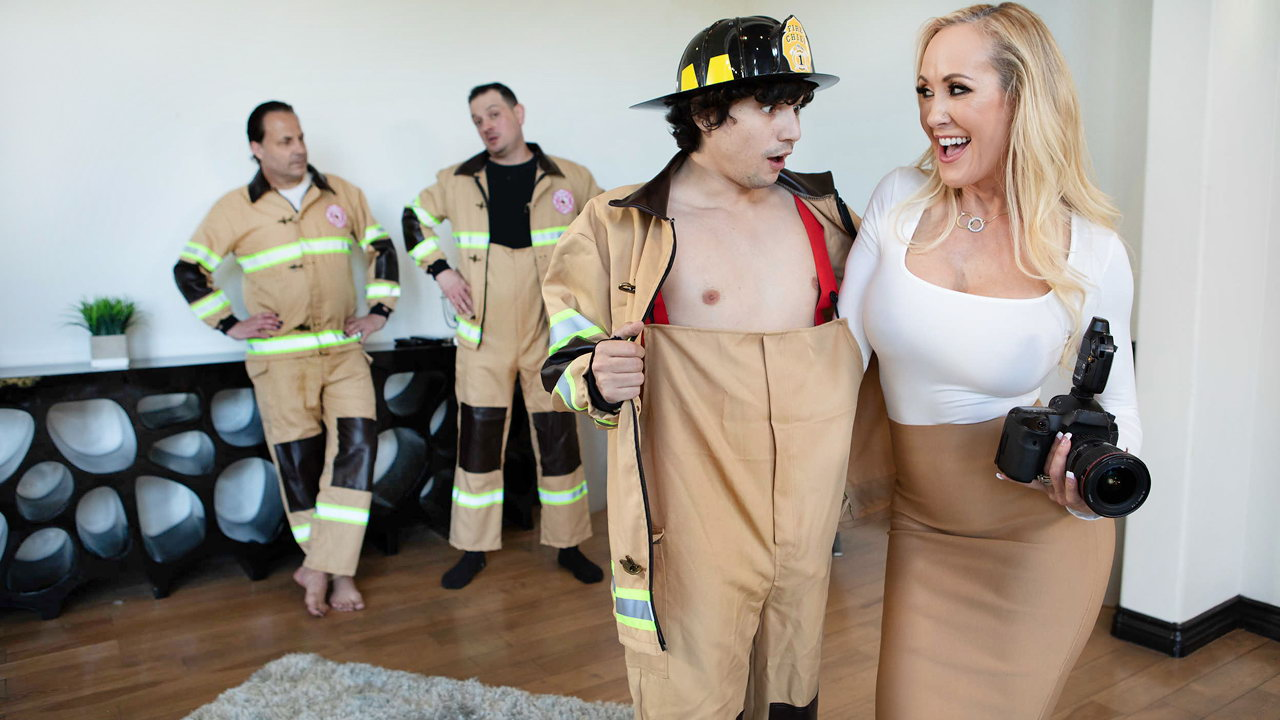 Blonde MILF photographer with giant tits gives a young fireman a sneaky fuck