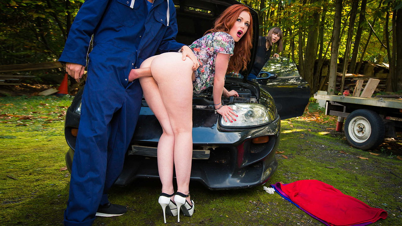 Redhead calls for roadside assistance but ends up taking a hardcore anal pounding